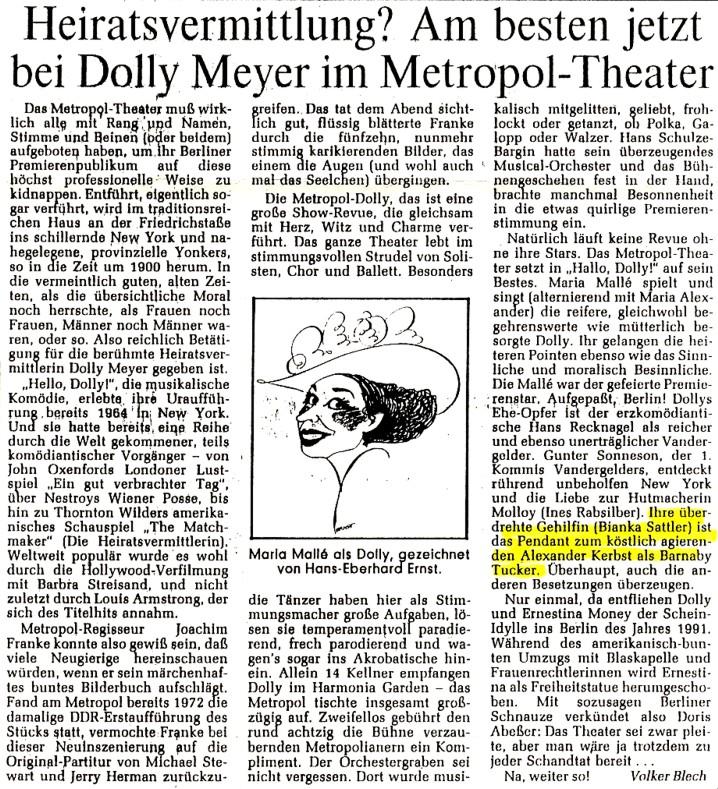 1991.04._Hallo_Dolly_04c_Kritik