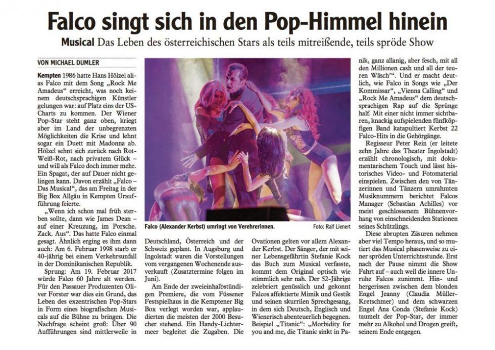 Falcomusical Presse Allgaeuer Zeitung - 23.01.2017